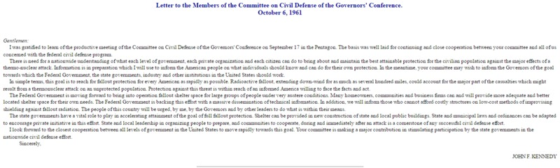 John F. Kennedy, Letter to the Members of the Committee on Civil Defense of the Governors' Conference. October 6, 1961