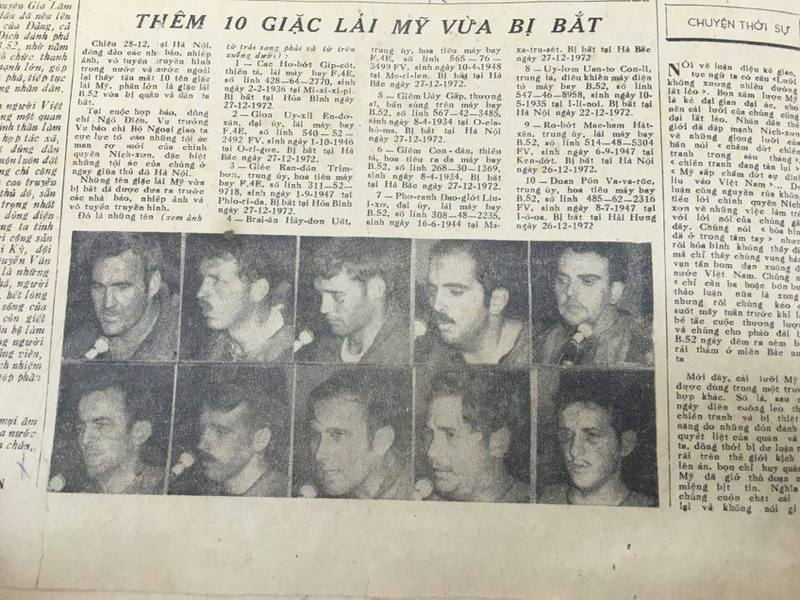 Photos of some captured US airmen in the Vietnamese newspaper during Linebacker II